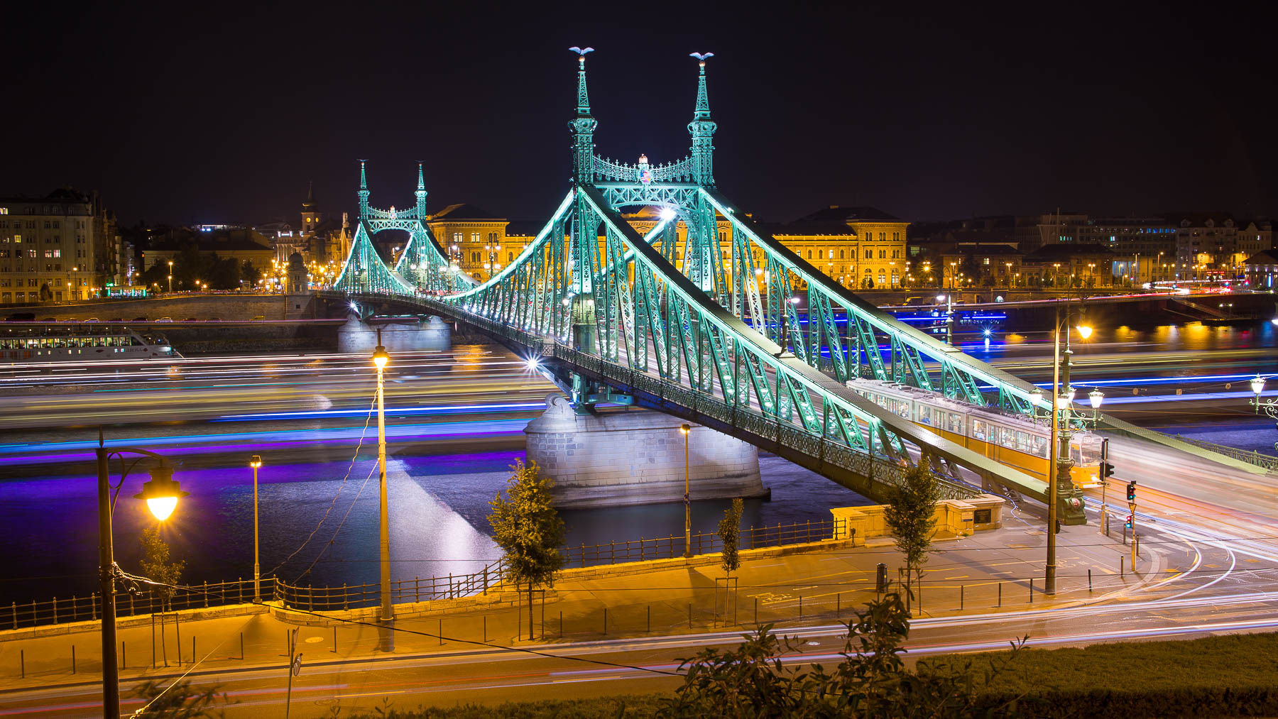 Budapest Liberty bridge at night