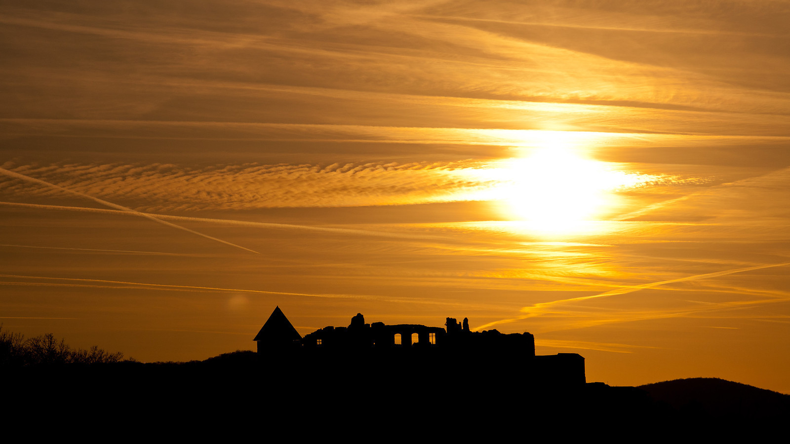 Medieval castle of Visegrád in the sunset