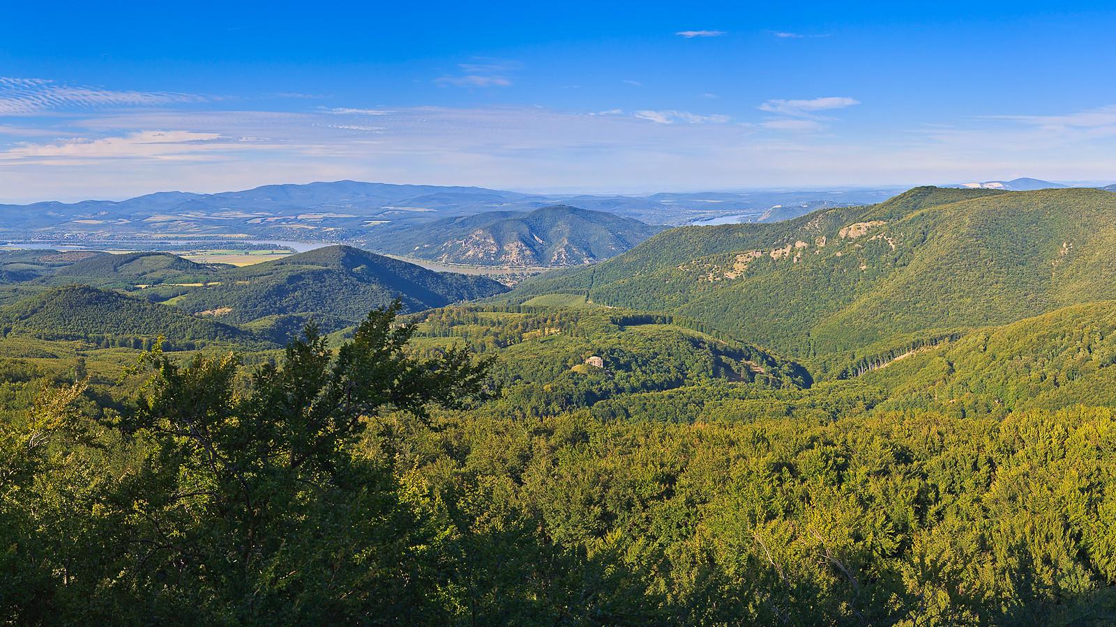 Panorama from Dobogoko mountain to the Danube Bend
