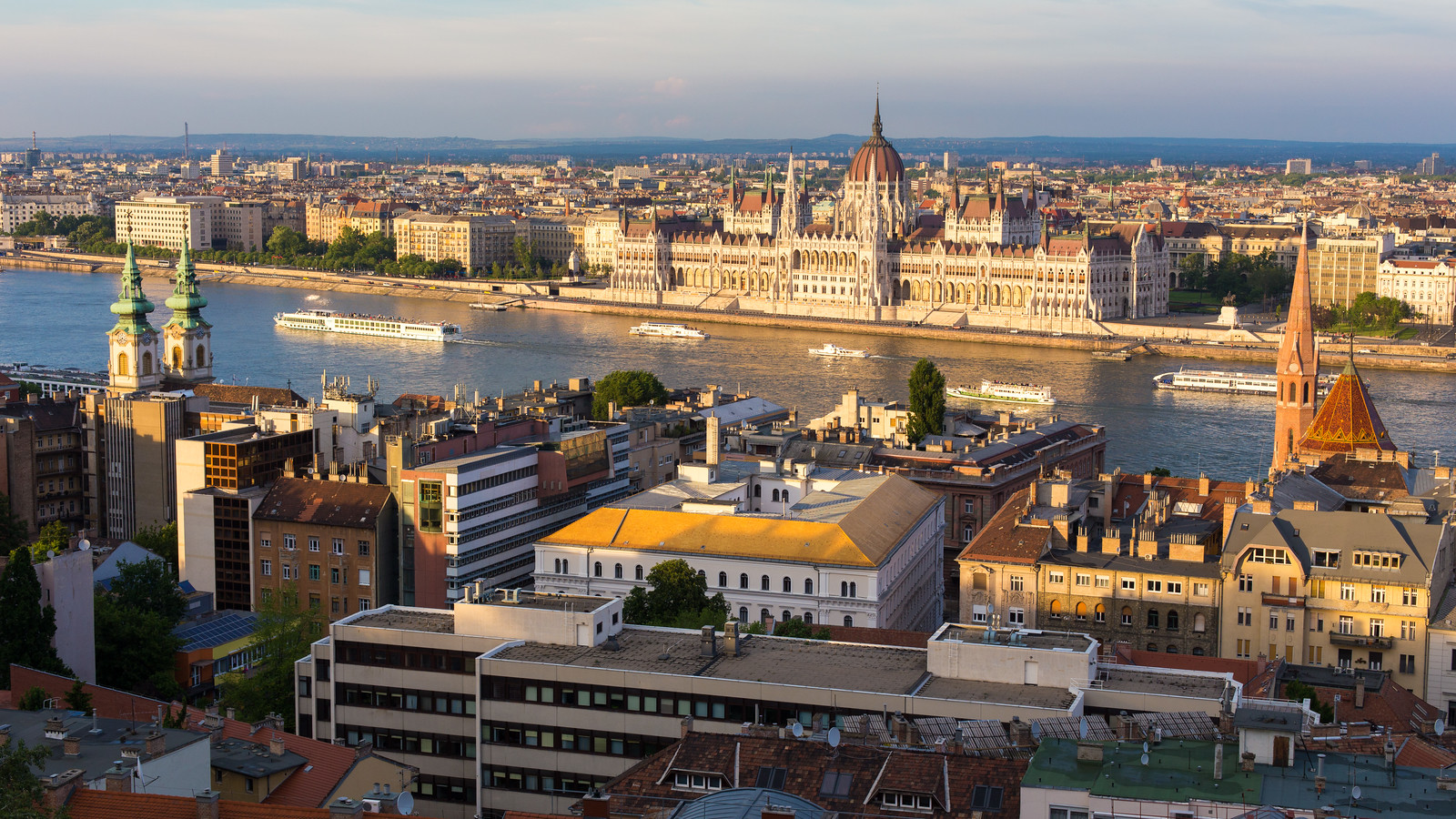 View from Fishermens Bastion to Hungarian Parliament