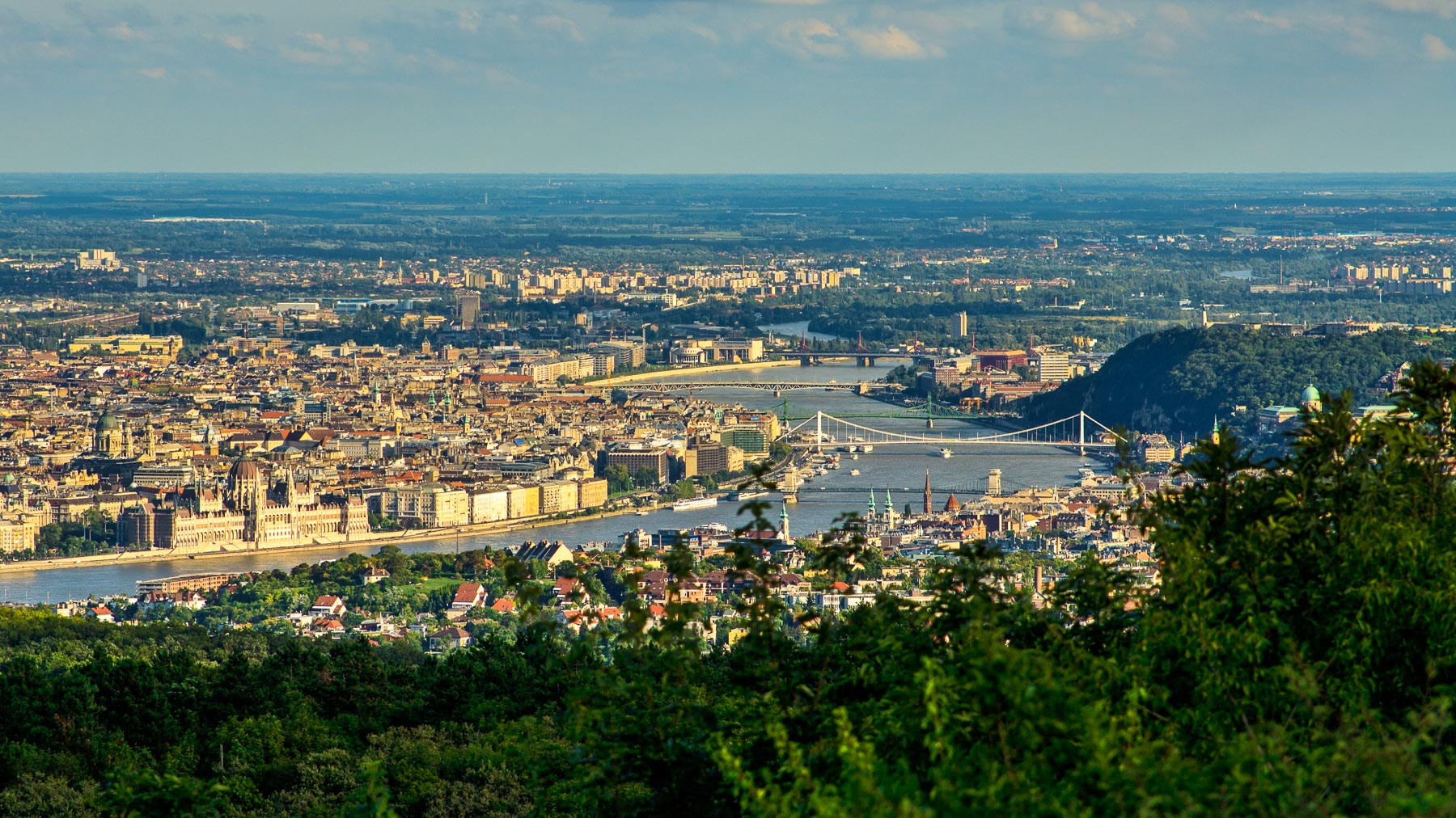 View of central Budapest from Harmashatar-hill.