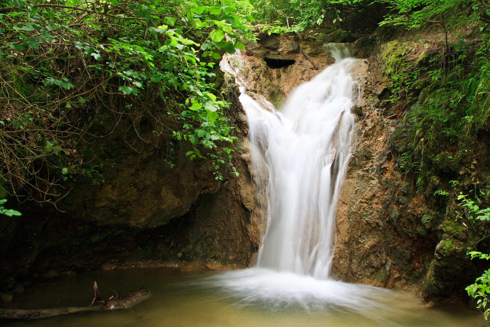Waterfalls of Paprikás-creek near Budapest in Solymár