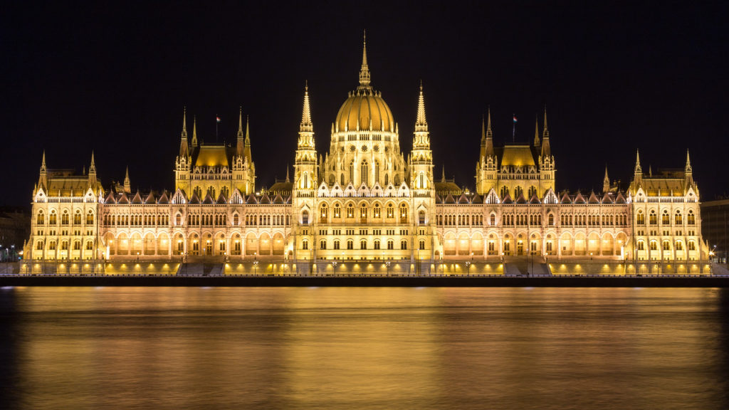 Opposite of Hungarian Parliament at night