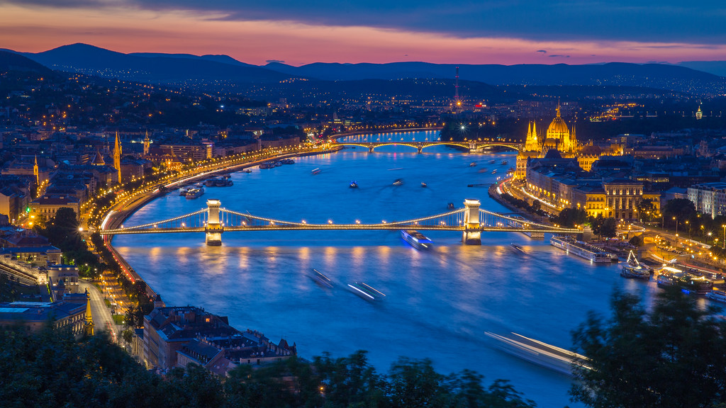 Night view from Citadel to Budapest
