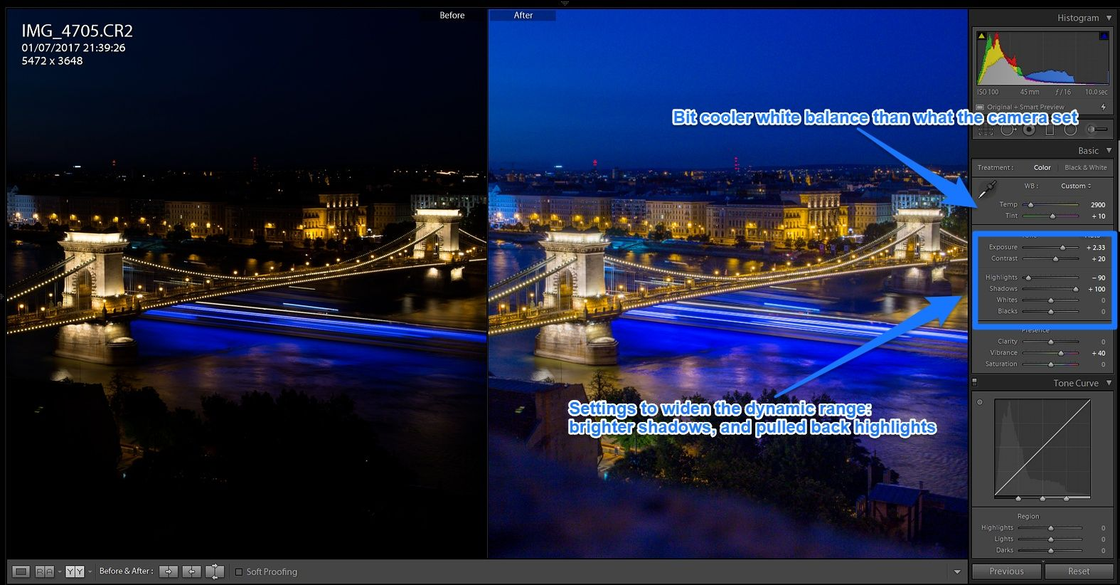 Lightroom develop panel for night picture