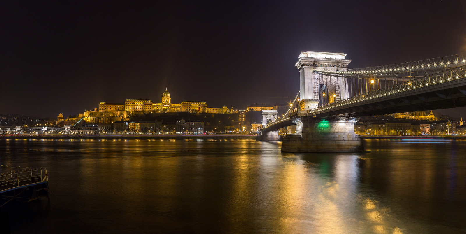 Buda Castle and Chain Bridge at night panorama