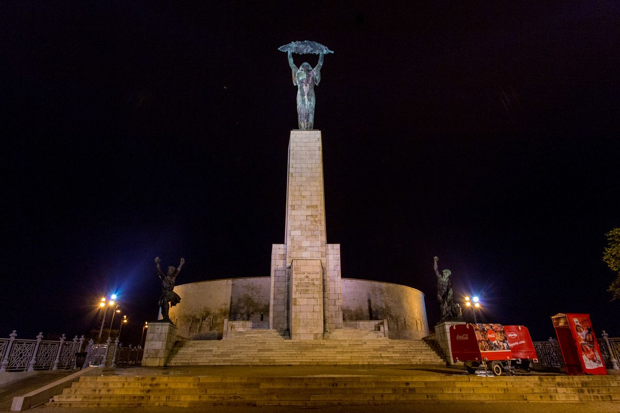Liberty Statue at night in Budapest