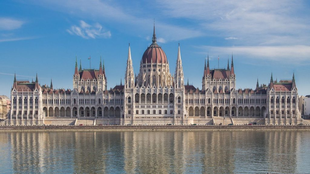 Budapest Parliament in the sunlight winter