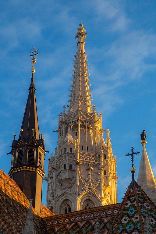 Tower of Mathias church at sunset