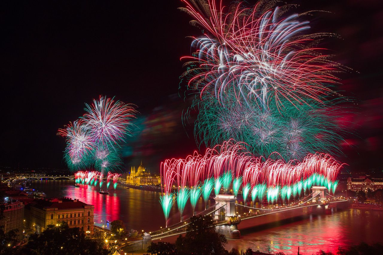 Fireworks on St Stephens day from Buda Castle