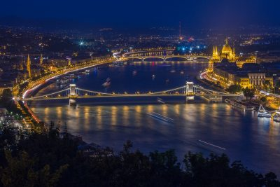 Chain bridge and Parliament from Citadel at night