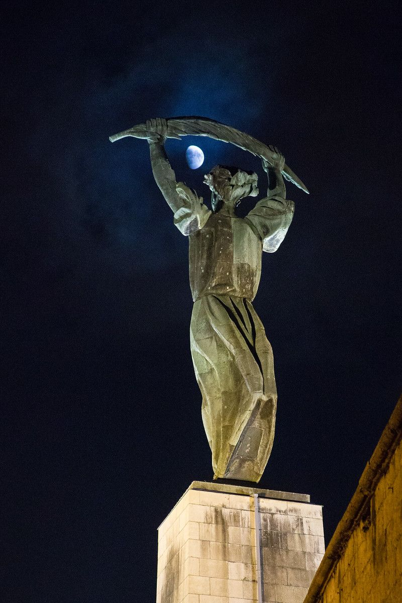 Liberty Statue and Moon