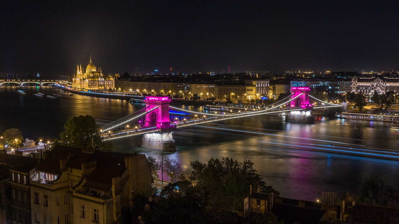 Chain Bridge in pink