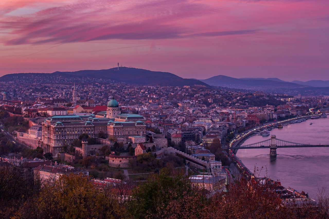 Buda Castle from Citadel with autumn colors