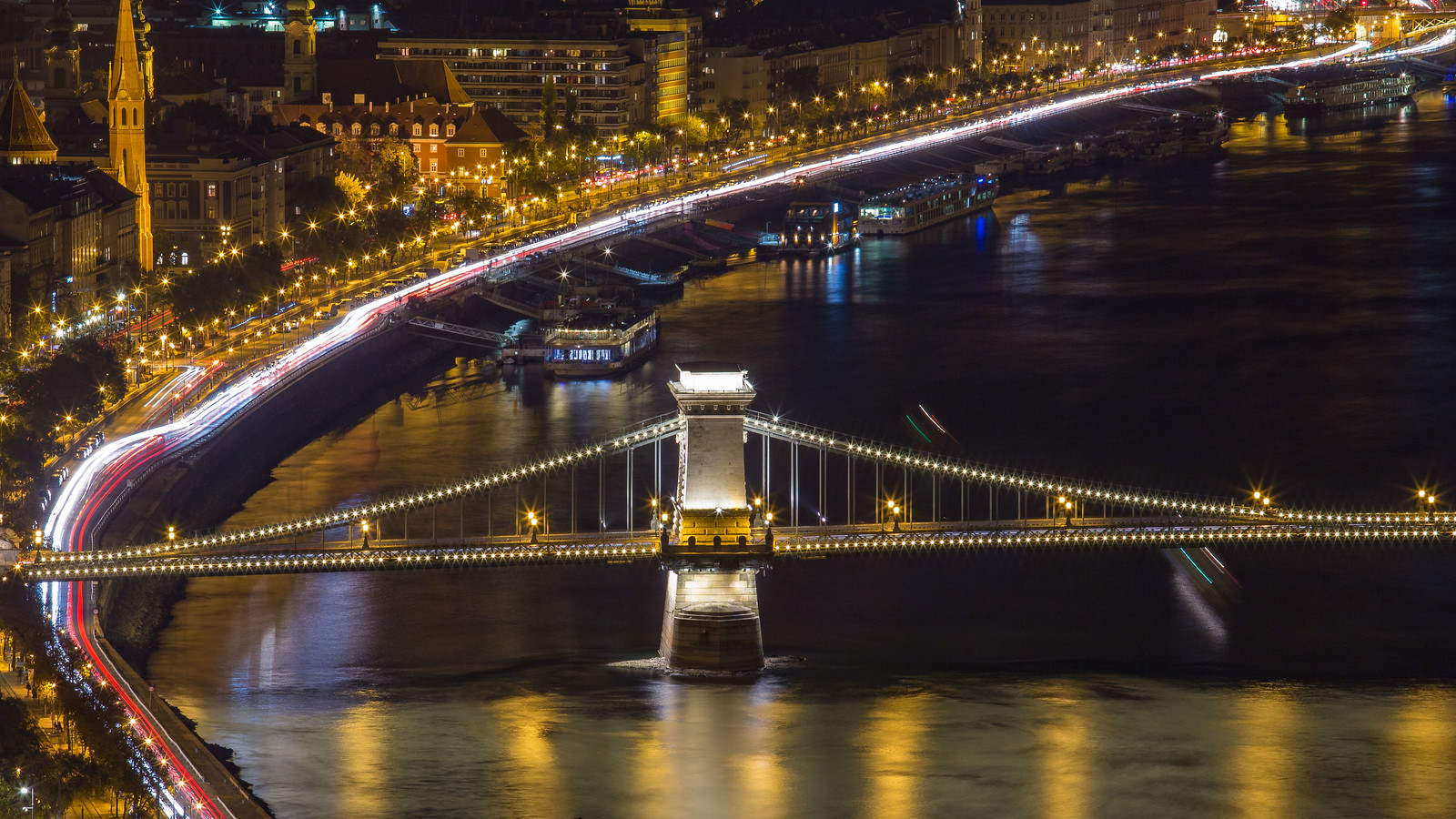 Left pillar of Chain Bridge at with lighttrails from Citadel