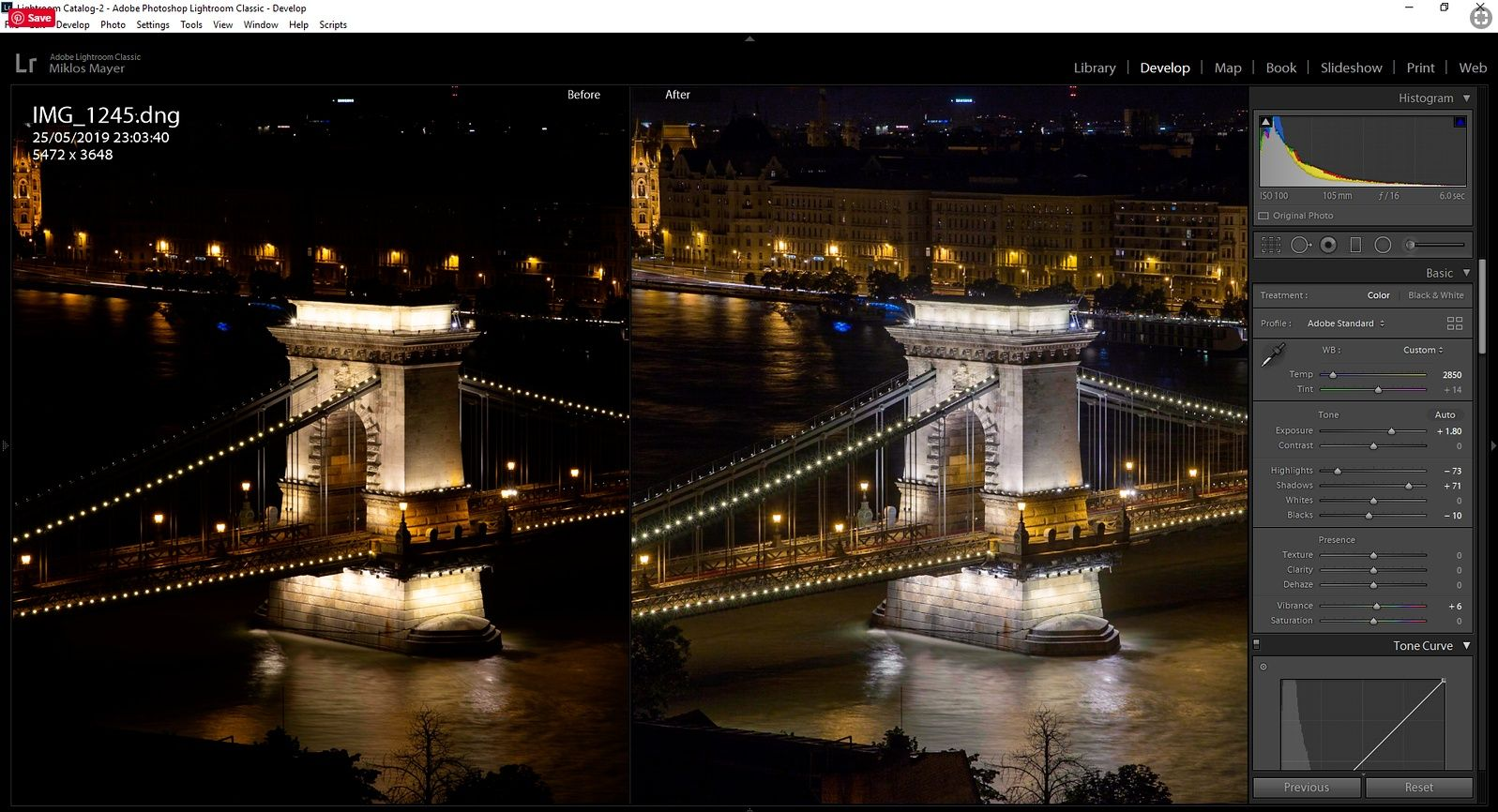 night photo of Budapest processed in Lightroom