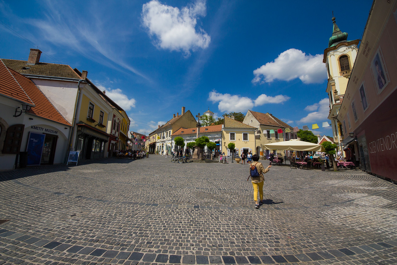 Szentendre main square extreme wide angle