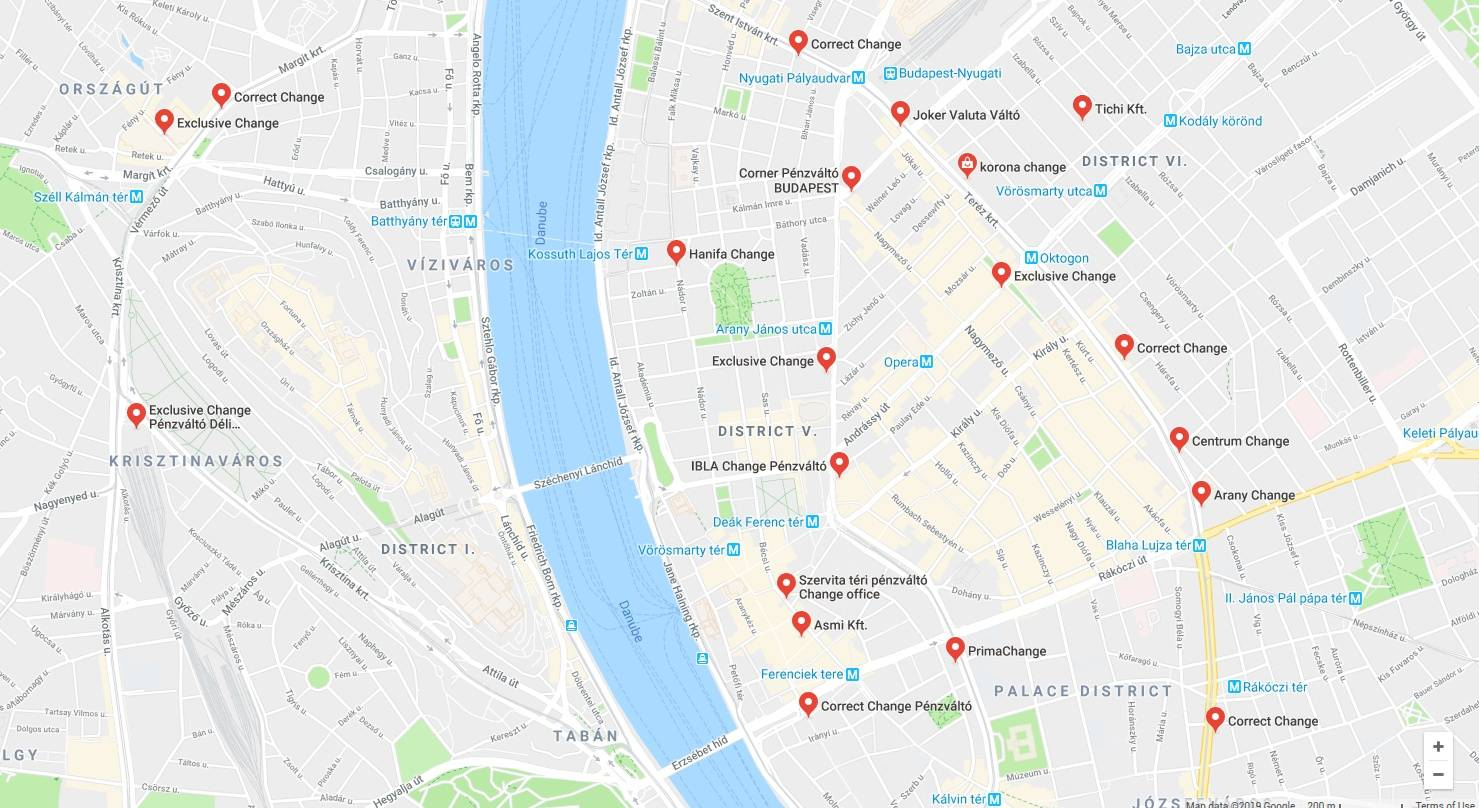 budapest money exchangers google maps