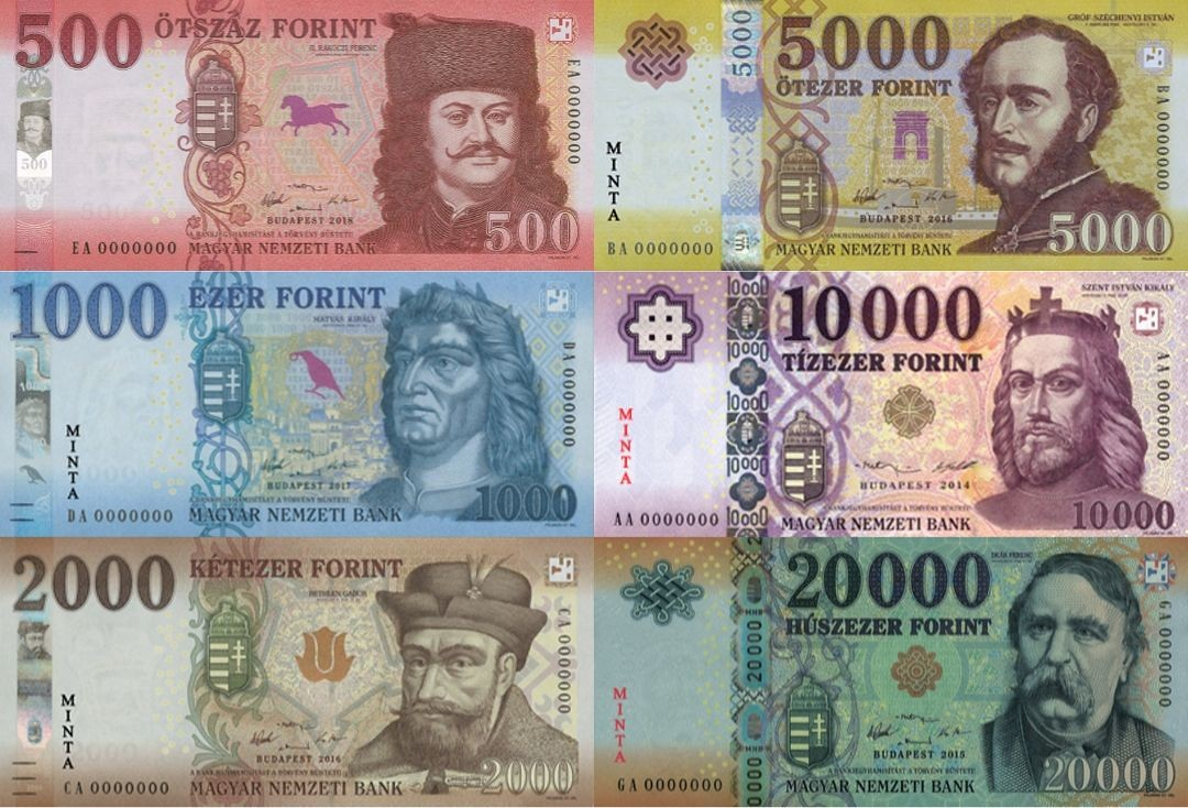 hungarian forint banknotr front side montage