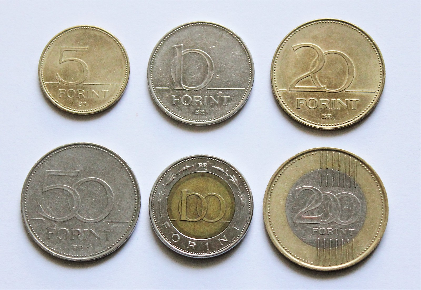 hungarian forint HUF coins side by side front montage
